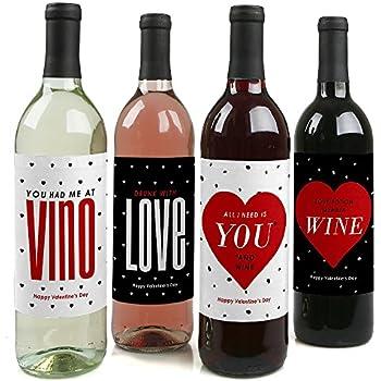 valentines day wine bottle labels set - Valentines Day Wine