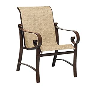 Woodard  Belden Sling Dining Arm Chair, Chestnut Brown, Canvas Bird's Eye