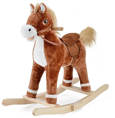 Rocking horse with sound dark brown 74 cm