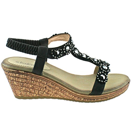 LADIES BOULEVARD BLACK BLUE DIAMANTE ELASTICATED WEDGE SANDALS L9564 KD-Black-UK 5 (EU 38)