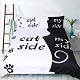 RheaChoice Instagram Cat Side My Side 100% Microfiber Bedding Funny Pet Topic Duvet Cover Set Queen Size - Includes 1 Duvet Cover 2 Pillowcases