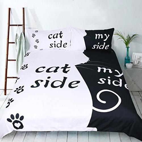 (RheaChoice Instagram Cat Side My Side 100% Microfiber Bedding Funny Pet Topic Duvet Cover Set Queen Size - Includes 1 Duvet Cover 2 Pillowcases)