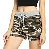 Perfashion Women's Camo Shorts with Drawstring Yoga Running Workout Pants