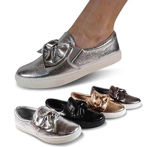 Schuhtraum Damen Sneakers Slipper Schleife Metallic Glanz Halbschuhe Turnschuhe M3023 Schwarz