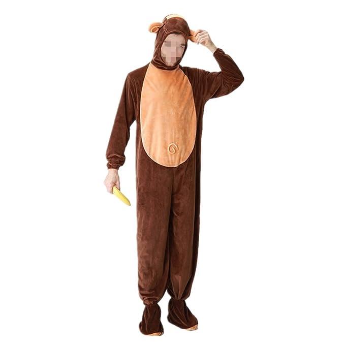Disfraz de Mono para adultos Pijamas Disfraz Animal Ropa de dormir para Halloween Cosplay Carnaval