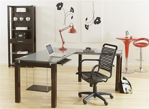 Billings Premium Modern L-Shaped Glass Desk with Wenge - Euro Style L-desk