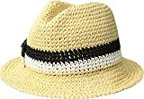 Kate Spade New York Women's Crochet Bicolor Bow Trilby Hat, Natural, One Size