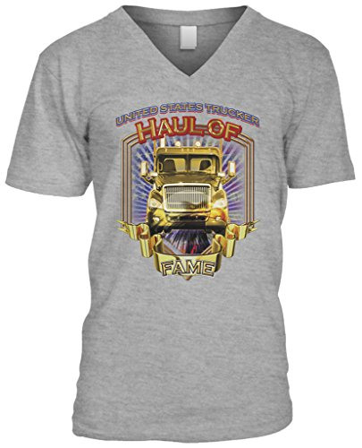 Blittzen Mens V-neck T-shirt Haul of Fame Big Rig, 2XL, Light Gray (Fame Light T-shirt)