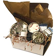 Premier Smudge and Sage Home Blessing Kit with Abalone Shell + California White Sage & Cedar + Holy Water + Smudging Feather + Sweetgrass & Horehound + Blessed Oil & Salt + Sandalwood Soy Candle
