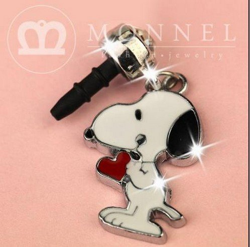 New Cell Phone Charm - IP250-B New Cute Snoppy Red Heart 3.5mm Ear Jack Anti Dust Plug Cover For iPhone & Android