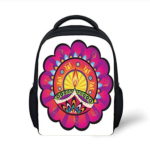 iPrint Kids School Backpack Diwali,Floral Paisley Design with Oriental Details and Tribal Ethnic Diwali Candles Print,Multicolored Plain Bookbag Travel Daypack by iPrint