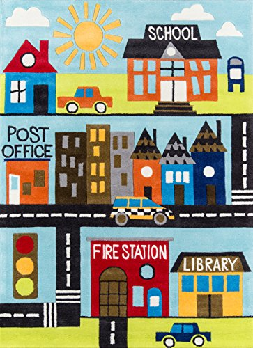 Momeni Rugs LMOJULMJ12TOW5070 Lil' Mo Whimsy Collection, Kids Themed Hand Carved & Tufted Area Rug, 5' x 7', Town Scene