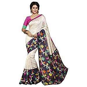 Shilp-Kala Bhagalpuri Silk Printed Off White Colored Sarees SKVF12509