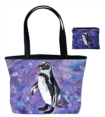 Penguin Gift Set Shoulder Bag and Coin Purse- Support Wildlife Conservation - Read How - From My Original Painting, Southern Sweetheart Avenue Top Zip Tote