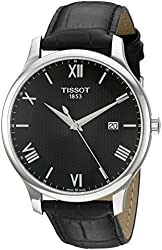 Tissot Men's 'Tradition' Swiss Quartz Stainless Steel and Leather Dress Watch, Color:Black (Model: T0636101605800)