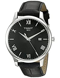 Tissot Men's 'Tradition' Swiss Quartz Stainless Steel and Leather Dress Watch, Black (Model: T0636101605800)