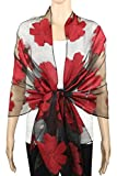Achillea Lightweight Sheer Burnout Scarf Shawl Beach Wrap w/ Embroidered Floral Flower Pattern (Floral Red)