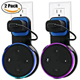 #1: Echo Dot Wall Mount Case Holder Stand for Alexa Dot 2nd Generation TOOVREN Space-Saving Hanger for Smart Home Speaker without Mess Wires or Screws - Short Charging Cable Included (2 Pack)
