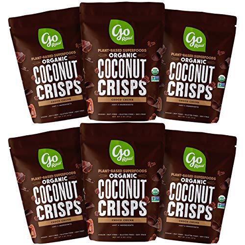 Go Raw Organic Coconut Crisps, Choco Crunch | Superfood | Paleo | Gluten Free | Vegan (6 Bags)