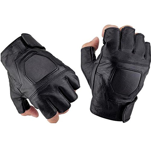 (K-mover Half Finger Leather Gloves Fingerless Street Dance Glove Cycling Gloves Universal Fit One Size)