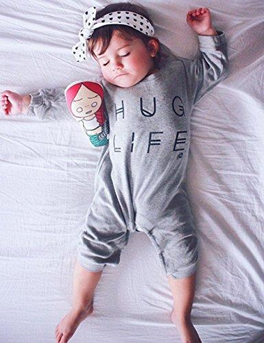 Minilove Baby Boys Girls Hug Life Letter Print Long Sleeve Playsuit