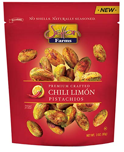 Setton Farms Naturally Seasoned Pistachio Kernels, Chili Limón, No Shell Pistachios, Certified Non-GMO, Gluten Free, and Kosher, 3 oz Resealable Pouch