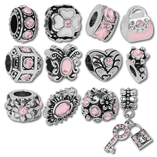 European Charm Bracelet Charms and Beads For Women and Girls Jewelry, Birthstone October Pink