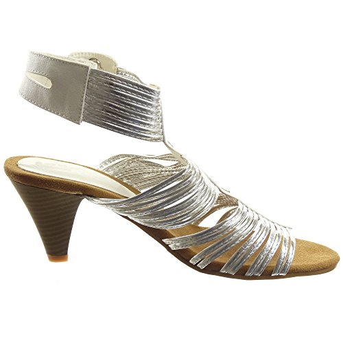 Sopily - Zapatillas de Moda Sandalias Tobillo mujer brillantes multi-correa tachonado Talón Tacón embudo alto 6.5 CM - Blanco
