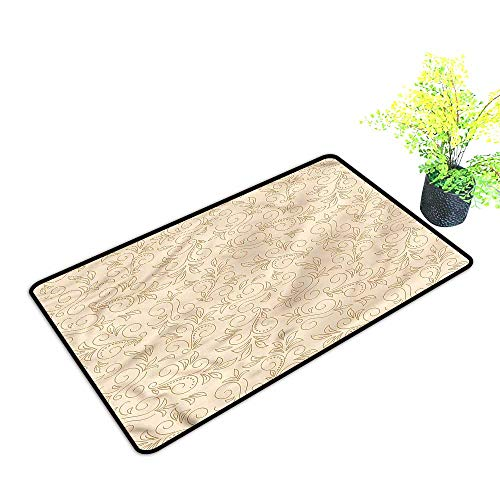 Funny Door mats Outdoor Beige,Doodle Curved Floral Motifs Stylish Welcome Mats,H17xW29 inch