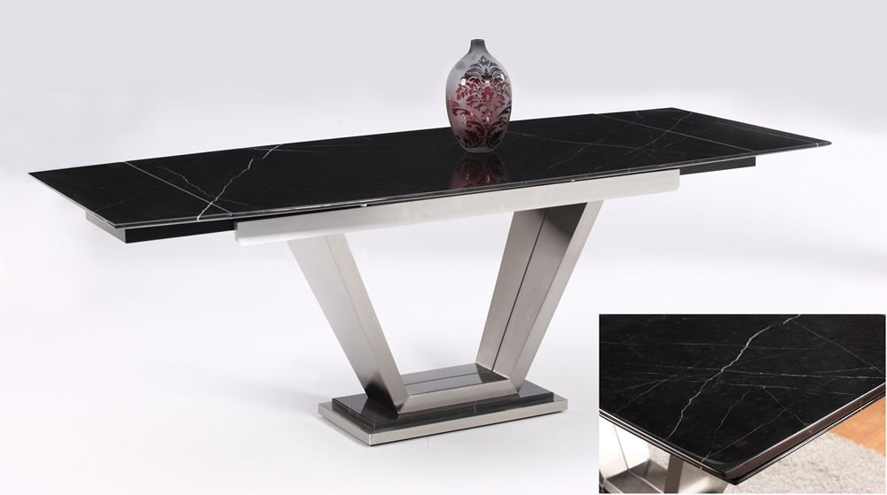 amazoncom chintaly jessy black marble top extension dining table tables