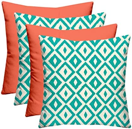 RSH D cor Indoor Outdoor Set of 4-17 x 17 Square Patio Toss Pillow Set Weather Resistant – Choose Pillow Color 2-Jade Turquoise Intertwined Geometric 2-Coral Mixed Pillow Set