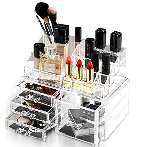 - Felicite Home Acrylic Jewelry and Cosmetic Storage Makeup Organizer Set,1 Top 4 Drawers, 2 Piece Set