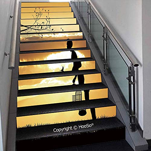 Creative Decorative 3D Self-Adhesive Stair Riser Decal - Stair Stickers Decals Wallpaper for Home Decoration,Boho Pop Art Antique Bike Illustration with an Aesthetic Lav,39.3