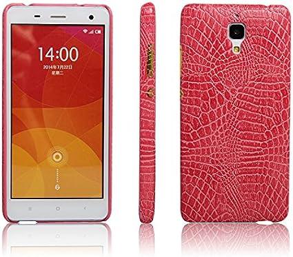 zl one Funda Xiaomi Mi4 PU Cuero Patrón Cocodrilo Bumper Back Case Cover (Rosa)