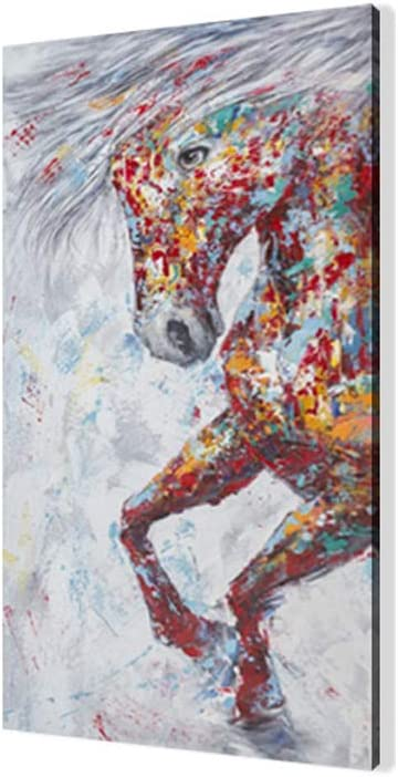 Animales Cuadro En Lienzo, Modernos Lienzo Carteles e Impresiones Arte De La Pared Cuadros Abstractos Coloridos De Los Caballos Para La Decoración Del Hogar De La Sala De Estar (Sin Marco)(70x140cm)