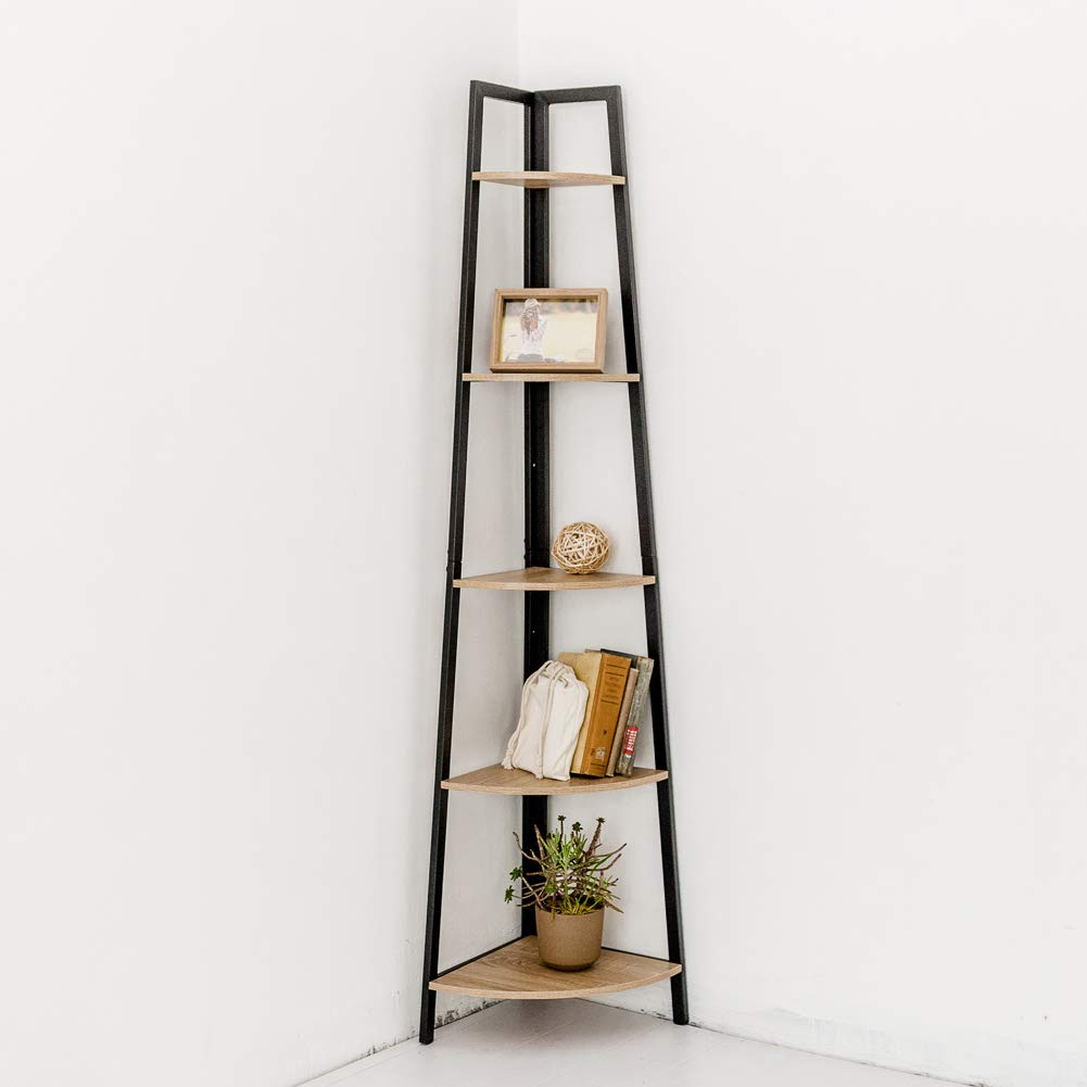 C-Hopetree Corner Shelf Industrial Ladder Bookshelf Indoor Plant Stand Storage Accent Furniture Display Shelves Metal Frame 5 Tiered