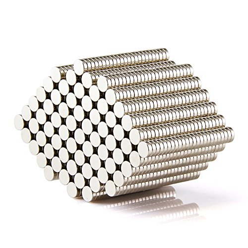 Sunkee 100pcs Pequeño y redondo imanes de disco de diámetro 5 mm x 4 mm de neodimio NdFeB N35 Super Potente resistente Imán de neodimio de tierras raras: ...