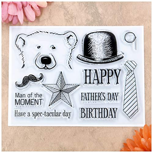 Kwan Crafts Happy Father's Day Birthday Star Bear Hat Tie Beard Clear Stamps for Card Making Decoration and DIY Scrapbooking