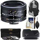 Nikon 50mm f/1.8D AF Nikkor Lens with Sling Backpack + 3 UV/CPL/ND8 Filters + Hood Kit for D7100, D7200, D610, D750, D810 Cameras