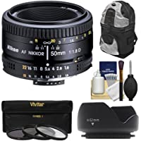 Nikon 50mm f/1.8D AF Nikkor Lens with Sling Backpack + 3 UV/CPL/ND8 Filters + Hood Kit for D7100, D7200, D610, D750, D810 Cameras
