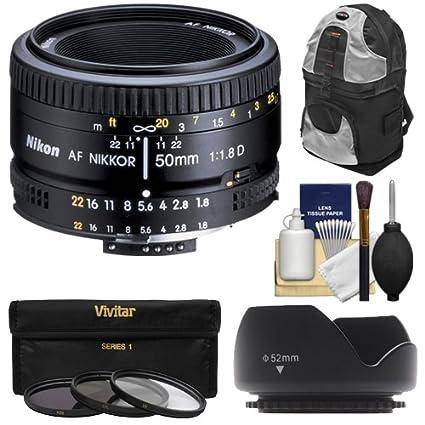 Nikon 50 mm f/1.8d AF Nikkor Lente + Filtro UV + Kit de Accesorios ...