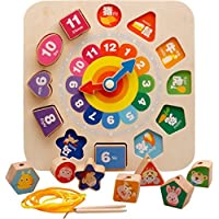 Emob Attractive Cartoon with Number Building Blocks Wear Line Digital Clock Educational Game for Toddlers (Multicolor)