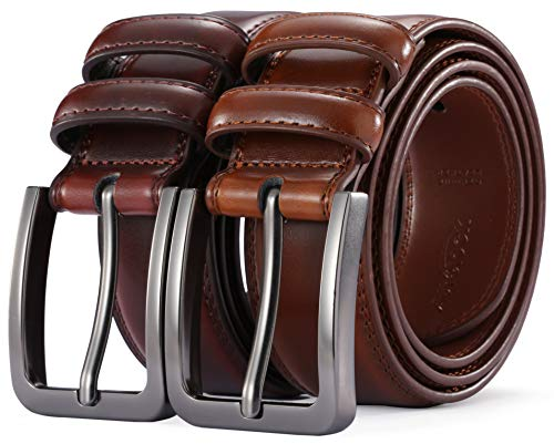 Mens Belt - Autolock Genuine Leather Dress Belt - Classic Casual Belt for Men in Gift - Gift Silver Classic Box