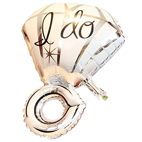 (Olpchee Foil I Do Diamond Ring Design Balloon Mylar Helium Balloons for Wedding Anniversary Party Valentine's Day Decoration (Silver))