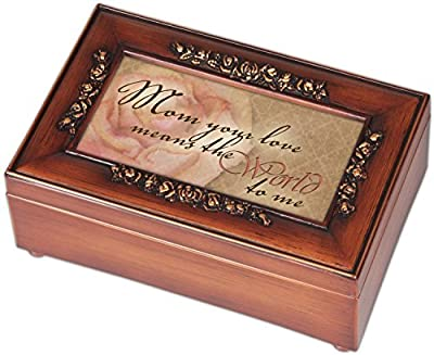 Mom Your Love Wood Finish Rose Jewelry Music Box