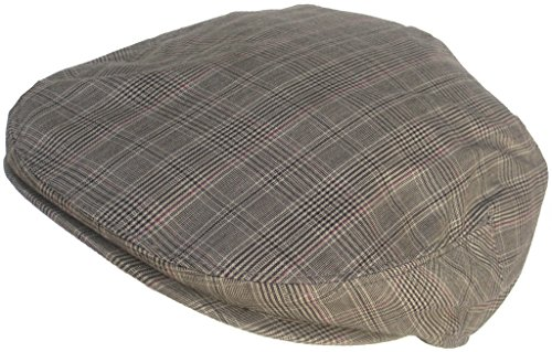 Summer Plaid Ivy Scally Driver Cap Polyester Flat Hat (Gray/Large)