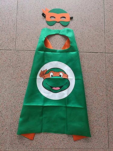 World Book Day Costumes Ideas For Girls (Superhero Halloween Party Cape and Mask Set for Kids 15+ Styles! (Teenage Mutant Ninja Turtles Michaelangelo))