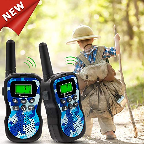 Vansky [2019 Latest] Walkie Talkies for Kids Boys Toys Age 4 5 6 7 8 Long Range 22 Channel Built-in Flashlight 2 Way Radio Best Gifts Games, Outdoor Adventure, Camping, Hiking & More (Camo Blue)