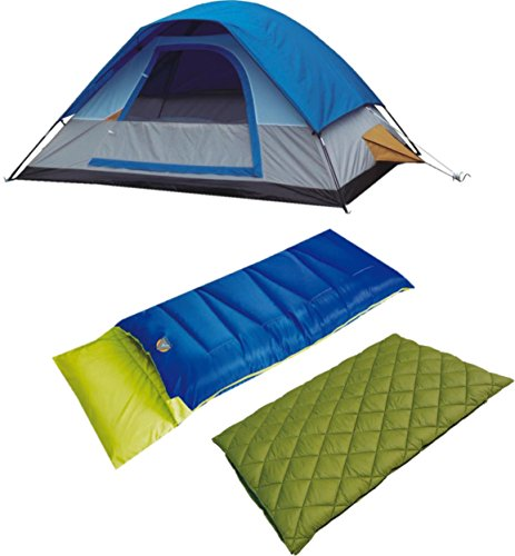 Alpinizmo High Peak USA Florida 20 Sleeping Bag Magadi 5 Tent Combo Set, Green/Blue, One (High Peak Camping Tents)
