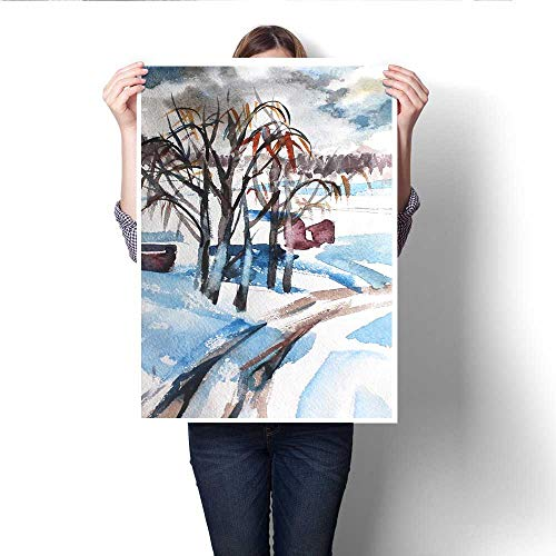Hanging painting Hand drawn romantic watercolor paper Winter forest snow trees Nice painting for interior prints covers scrapbook cards invitations calendars Ready to Hang for Home Decorations Wall D